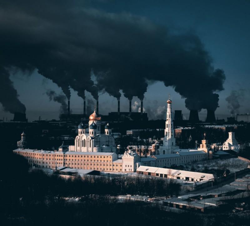 poza drona oras rus manastire poluare centrala